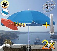 2x PREMIUM-Sonnenschirm mit Hülle / XXL Gartenschirm, Marktschirm, 180 cm / Q 1,80 m EDEL mit Volant 8-eckig, Sonnendach Schirm, 8tlg. Strandschirm, blau marine mit weiss, Strandschirm rund,Sonnendach /Sonnenschutz Dach, XXL-Klappschirm, Gartenschirm extrem wetterfest, klappbar, tragbar, seewasserfest, hochwertig robust stabil, Sonnenschutz, stabiler Schirm Klappschirm, Strandschirme, Sonnenschirme, Sonnenschirm-Tische