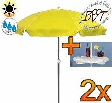2x PREMIUM-Sonnenschirm UV50+ mit Getränketisch / XXL Gartenschirm, Marktschirm, 180 cm / Q 1,80 m EDEL mit Volant 8-eckig, Sonnendach Schirm, 8tlg. Strandschirm, gelb mit weiss, Strandschirm rund,Sonnendach /Sonnenschutz Dach, XXL-Klappschirm, Gartenschirm extrem wetterfest, klappbar, tragbar, seewasserfest, hochwertig robust stabil, Sonnenschutz, stabiler Schirm Klappschirm, Strandschirme, Sonnenschirme, Sonnenschirm-Tische