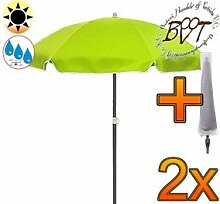 2x PREMIUM Sonnenschirm UV50+ mit Hülle apfelgrün / XXL Gartenschirm, Marktschirm, 180 cm / Durchmesser 1,80 m EDEL mit Volant, 8-teilig / 8-eckig massiv robust, Strandschirm,Sonnendach /Sonnenschutz Dach, XXL-Klappschirm, Gartenschirm extrem wetterfest, klappbar, tragbar, seewasserfest, hochwertig robust stabil, Sonnenschutz, stabiler Schirm Klappschirm, moosgrün, Strandschirme, Sonnenschirme, Sonnenschirm-Tische