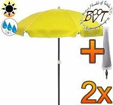 2x PREMIUM-Sonnenschirm UV50+ mit Hülle / XXL Gartenschirm, Marktschirm, 180 cm / Q 1,80 m EDEL mit Volant 8-eckig, Sonnendach Schirm, 8tlg. Strandschirm, gelb mit weiss, Strandschirm rund,Sonnendach /Sonnenschutz Dach, XXL-Klappschirm, Gartenschirm extrem wetterfest, klappbar, tragbar, seewasserfest, hochwertig robust stabil, Sonnenschutz, stabiler Schirm Klappschirm, Strandschirme, Sonnenschirme, Sonnenschirm-Tische