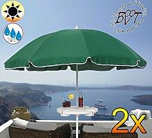 2x PREMIUM Sonnenschirm UV50+sonnendicht mit Getränketisch dunkelgrün / XXL Gartenschirm, Marktschirm, 180 cm / Durchmesser 1,80 m EDEL mit Volant, 8-teilig / 8-eckig massiv robust, Strandschirm,Sonnendach /Sonnenschutz Dach, XXL-Klappschirm, Gartenschirm extrem wetterfest, klappbar, tragbar, seewasserfest, hochwertig robust stabil, Sonnenschutz, stabiler Schirm Klappschirm, moosgrün, Strandschirme, Sonnenschirme, Sonnenschirm-Tische