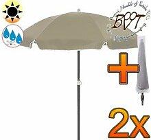 2x PREMIUM-Sonnenschirm UV50+sonnendicht mit