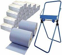 2x Putzrollen-Set Komfort (3-lagig, blau) inkl. Halterung Bodenständer, 20x Papiertücher á 150 Bla