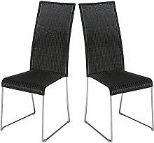 2x Rattan Stuhl Hochlehner Stuhlset Stuhlgruppe