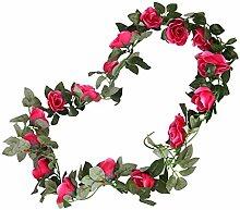 2x Seidenblumen Blumenranke Rose Blume Efeu Rebe Girlande Garten Hochzeit Party Dekoration - Rose Red, 230cm
