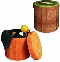 2x Sitzhocker Obst-Design, Sitzwürfel, Falthocker mit Stauraum, Klapphocker, HxBxT ca. 38 x 38,5 x 38,5 cm, Kiwi, Orange