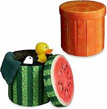 2x Sitzhocker Obst-Design, Sitzwürfel, Falthocker mit Stauraum, Klapphocker, HBT ca. 38 x 38,5 x 38,5 cm, Melone, Orange