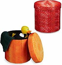 2x Sitzhocker Obst-Design, Sitzwürfel, Falthocker Stauraum, Klapphocker, HxBxT ca. 38 x 38,5 x 38,5 cm, Erdbeere, Orange