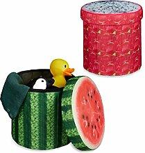 2x Sitzhocker Obst, Sitzwürfel, Falthocker mit Stauraum, Klapphocker, HBT ca. 38 x 38,5 x 38,5 cm, Melone, Drachenfruch