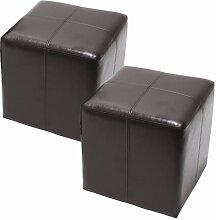 2x Sitzwürfel Hocker Sitzhocker Onex, LEDER, 36x36x36cm ~ braun