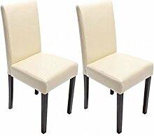 2x Stühle Esszimmer Lehnstuhl Stuhlset günstig modern Leder creme dunkle Beine