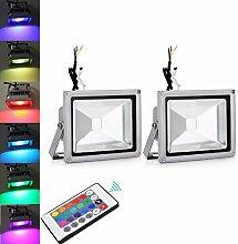 2X TEquem 20W RGB LED Flutlicht mit Fernbedienung