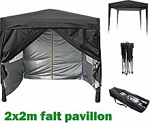 2x2m Pavillon, Gartenpavillon, Falt-Pavillon, Festzelt, Partyzelt, Komplettset in 4 Farben von MCC, SCHWARZ