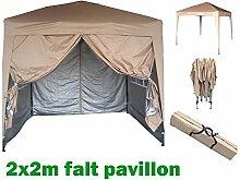 2x2m Pavillon, Gartenpavillon, Falt-Pavillon, Festzelt, Partyzelt, Komplettset in 4 Farben von MCC, BEIGE