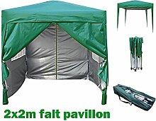 2x2m Pavillon, Gartenpavillon, Falt-Pavillon, Festzelt, Partyzelt, Komplettset, MCC, GRUEN
