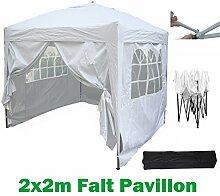 2x2m Pavillon, Gartenpavillon, Falt-Pavillon, Festzelt, Partyzelt, Komplettset in 4 Farben von MCC, Weiß