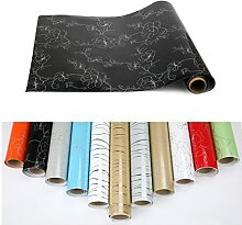 2xKINLO PVC 0.61 x 5M Küchenschränke Klebefolie Wasserfest Selbstklebende Aufkleber Folie aus hochwertigem PVC für Möbel Küche Schrank (Schwarz)