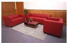 3-2-1 Sofagarnitur rot Kunstleder Couchgarnitur