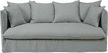3/4-Sitzer-Sofa mit Bezug aus hellgrauem