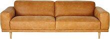 3-4-Sitzer-Vintage-Sofa, kamelfarbener Lederbezug