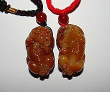 3,6cm China zertifiziert Nature gelb Dragon Jade Bixie Paar Halskette Anhänger
