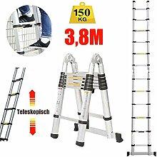 3.8M Mehrzweckleiter Teleskopleiter Klappleiter