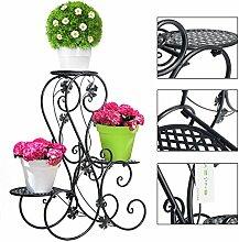 3abgestuftes Scroll Dekorative Schwarz Metall Garten Terrasse steht Plant Flower Pot Rack Display Regal bietet Platz für 3Blumentopf