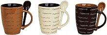 3 Cappuccino Becher mit Löffel - Kaffeebecher Kaffeetasse aus Keramik