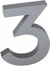 3-D Hausnummer (3) Aluminium massiv 10cm Haustür