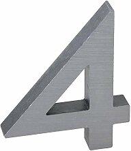 3-D Hausnummer (4) Aluminium massiv 10cm Haustür