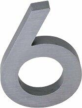 3-D Hausnummer (6) Aluminium massiv 10cm Haustür