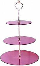 3Ebenen Pink Spiegel Acryl Kreis Etagere 20cm 25cm 30cm Gesamthöhe 32cm
