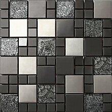 3-er Glas und Edelstahl Mosaik Fliesen Matte in