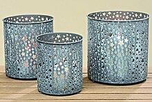 3 er Set Windlicht Stele H: 15-19cm grau mit Stern Teelichtglas Laterne Metall