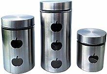 3 er Vorratsdosenset Apfel groß Vorratsdose Vorratsbehälter Frischhaltedose Aufbewahrung Kaffeedose Glas (silber)