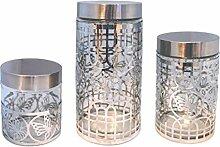 3 er Vorratsdosenset Vorratsdose Vorratsbehälter Frischhaltedose Aufbewahrung Kaffeedose Glas (silber)