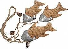 3 Fische Aufhänger Kork Metall am Band Kommunion Konfirmation Dekoration Maritime Deko