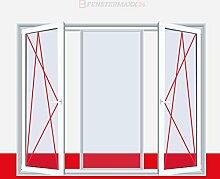 3-flügliges Kunststofffenster Fenster DKL/Fest/DKR Weiß Dreh Kipp Fest, Glas:2-Fach, BxH:1500x1200, Anschlag:DKL/Fest/DKR