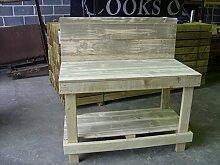 3ft Holz Werkbank, die Solide Holz Top mit Rückwand & 2Ablagen kostenlos.–Heavy Duty