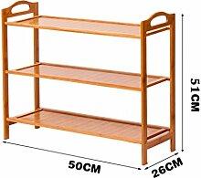 3 Fußböden Schuh-Rack Massivholz Einfache Lagerung Schrank Möbel Bambus Organizer Regale ( größe : 50 cm )