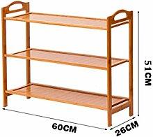 3 Fußböden Schuh-Rack Massivholz Einfache Lagerung Schrank Möbel Bambus Organizer Regale ( größe : 60 )