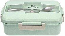 3 Gitter Mikrowelle Weizenstroh Bento Lunchbox
