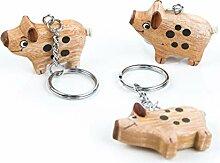 3 Glücksschweinchen Schlüssel-Anhänger HOLZ