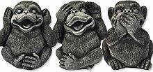 3 große Affen im Set - massiv - nichts sehen hören sagen - Glücksbringer -Skulptur