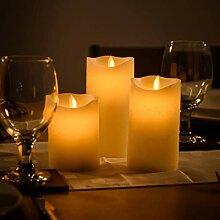 3 große Wax Flammenlose flackernde Kerze