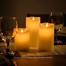 3 große Wax Flammenlose flackernde Kerze LED-Lichter mit Fernsteuerungs