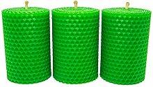 3 grüne handgerollte Wabenkerzen aus 100%