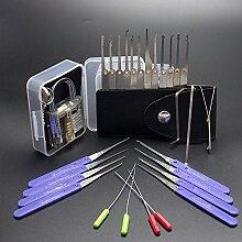 3 In 1 Bauschlosserwerkzeuge Set Transparent Blau Praxis Schloss, 15pcs lock set 10 stücke Klom Gebrochene Key Extractor Werkzeuge
