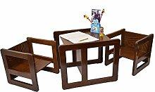 3 in 1 Multifunktionale Kindermöbel im Dreier Set bestehend aus einem Multifunktionalen Tisch und zwei Multifunktionale Kinderstühle oder ein Multifunktionales Nest von drei Couchtischen oder Beistelltischen für Erwachsene, aus massivem Buchenholz Dunkel Lackier