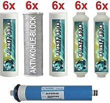 3 Jahres Ersatzfilter Set für 6 Stufen Wasserfilter Umkehrosmose Osmoseanlage inkl. 75 GPD MEMBRANE Filter Kartuschen 10 Zoll für Wasser Aquarium Fische Trinkwasser Osmose 18 x Filtereinsatz und 12 Inline Patronen